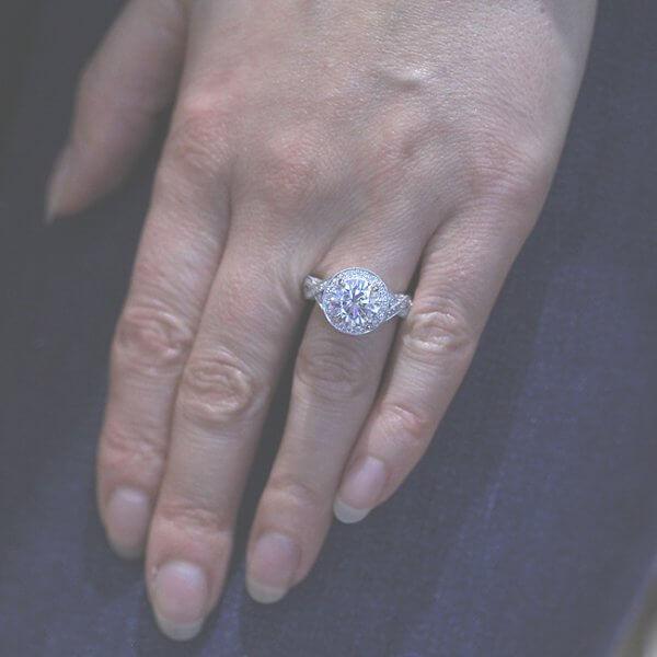 2ct round moissanite halo diamond ring