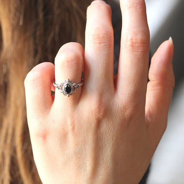 Black diamond bezel set vintage style ring