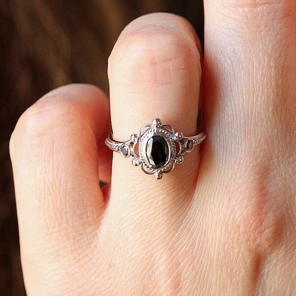 Black oval diamond engagement ring OroSpot