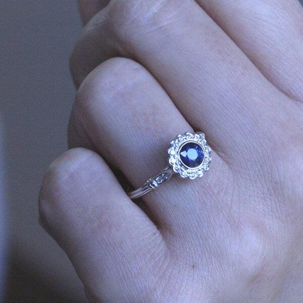 Halo Diamond Cut Sapphire Ring