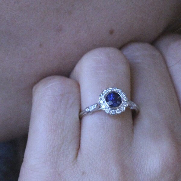 Blossom Style Blue Sapphire proposal Ring