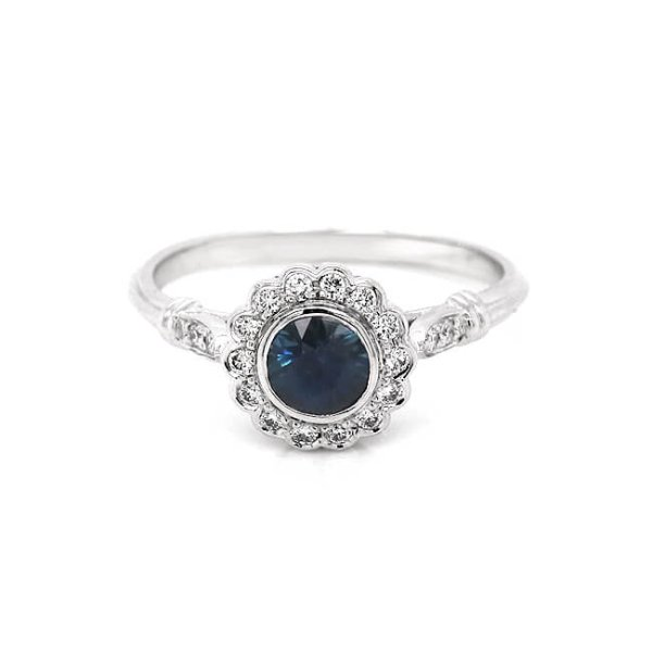Blue Sapphire Halo Engagement Ring R2001ven
