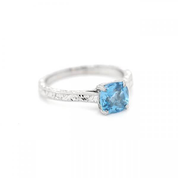 Blue Topaz Vintage Engagement Ring