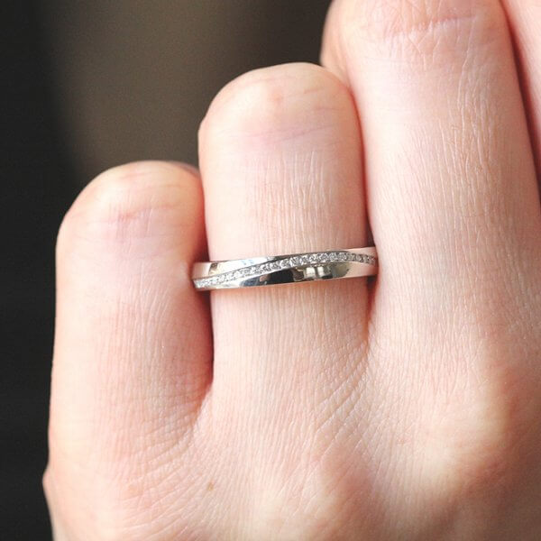 diamond channel wedding band comfort fit