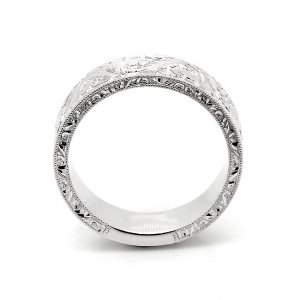 Engraved and Milgrained Flat Men's Wedding band