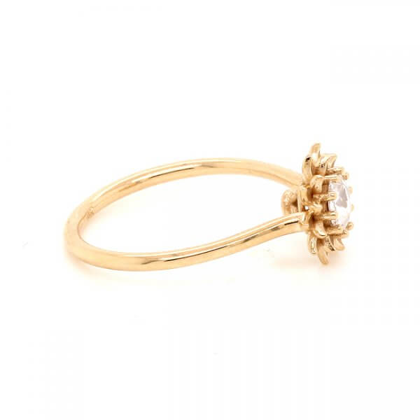 Unique Promise Ring, nature-inspired Flower Petal Rose Cut by OroSpot