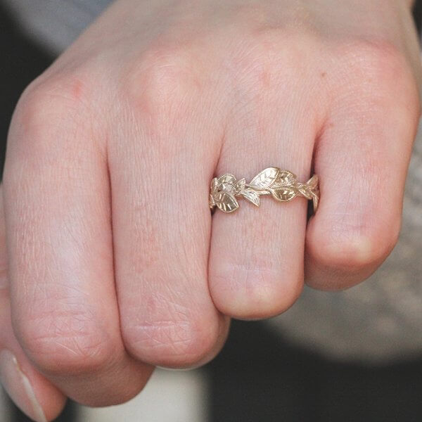 Filigree Nature Leaf Wedding Ring