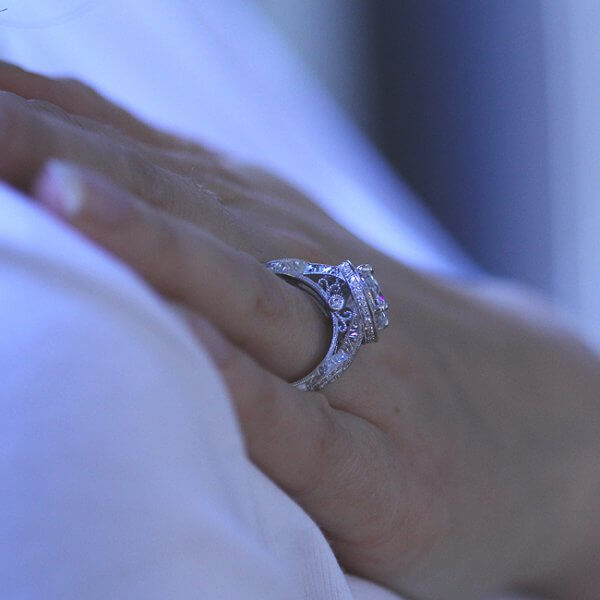 Filigree Vintage Intertwined Engagement Ring