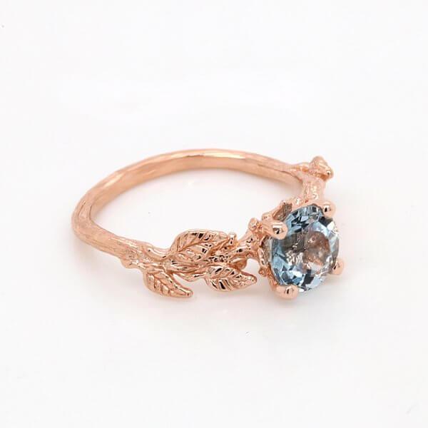 Floral Aquamarine Engagement Ring