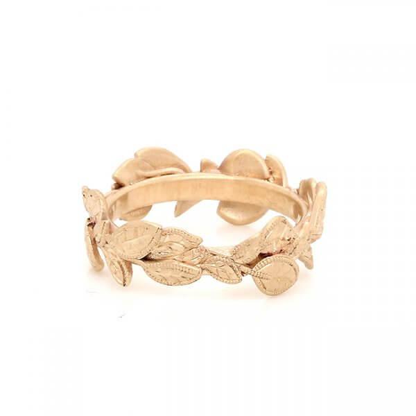 Floral Organic Wedding Ring 14k Gold