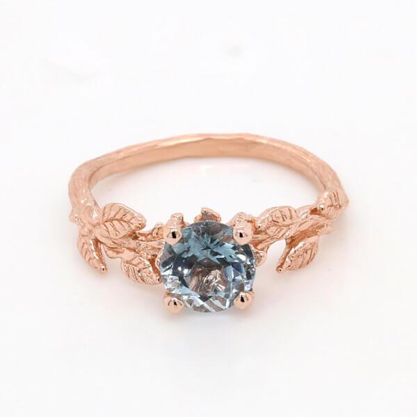 Flower Aquamarine Engagement Ring
