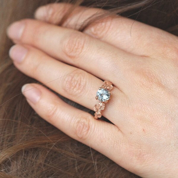 Hand Carved Leaves Aquamarine Ring R2064VEN