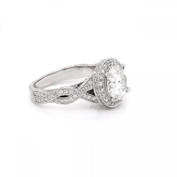 Hand Engraved Double Halo Moissanite Engagement Ring