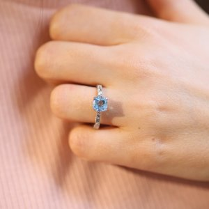 Hand etched and milgained vintage topaz ring