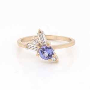Tanzanite Moissanite Engagement Ring