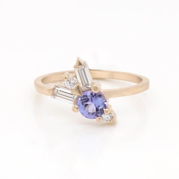 Tanzanite Moissanite Engagement Ring