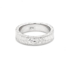 Men's hand Engraved Wedding Ring