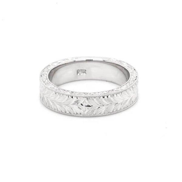 Men's hand Engraved Wedding Ring