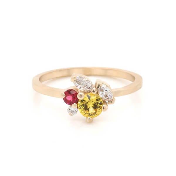 Modern Minimalist Cluster Yellow Sapphire Engagement Ring