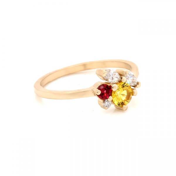 Multi Stone Sapphire Ruby Cluseter Promise Ring OroSpot
