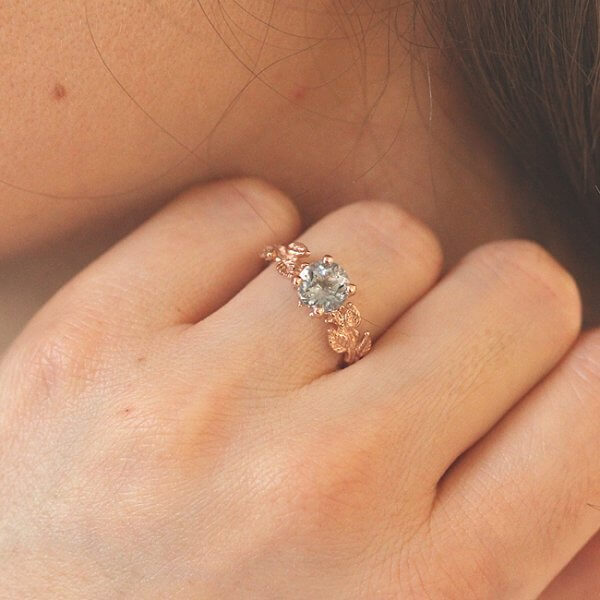 Nature INspired Aquamarine Engagement Ring in Pink Gold