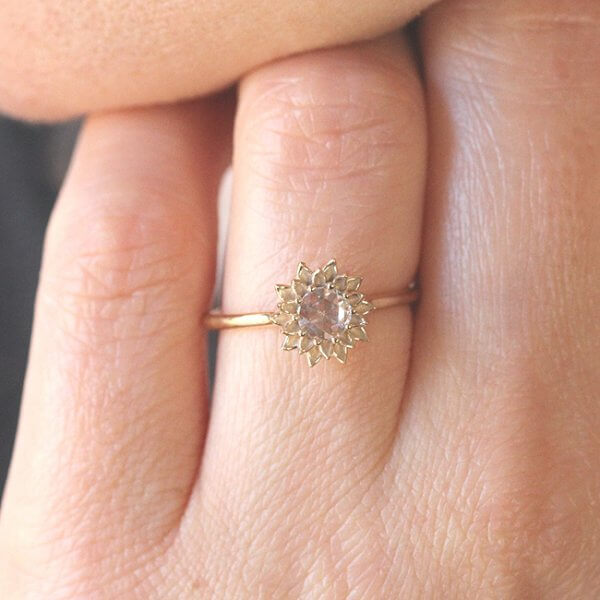 Non traditional rose cut diamond promise ring