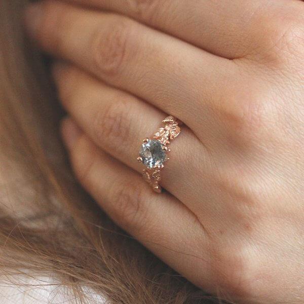 Organic Style Aqua Engagement Ring