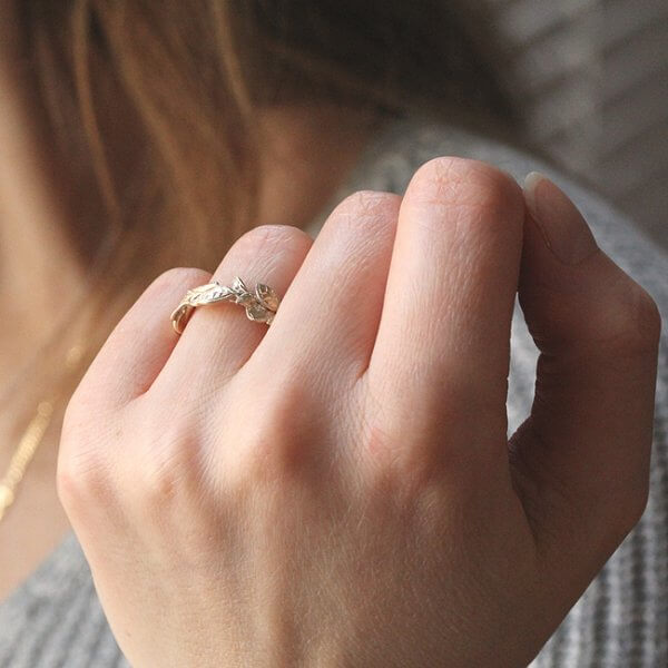 Organic Leaves Eternity Ring