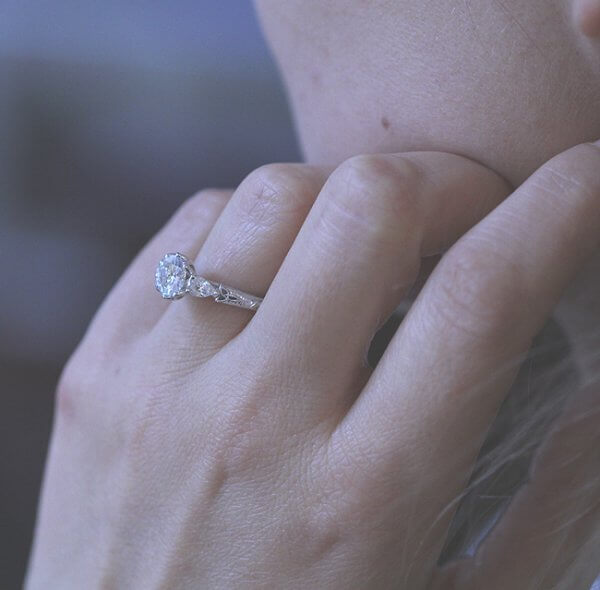 Pear Shape Trinity Moissanite Ring