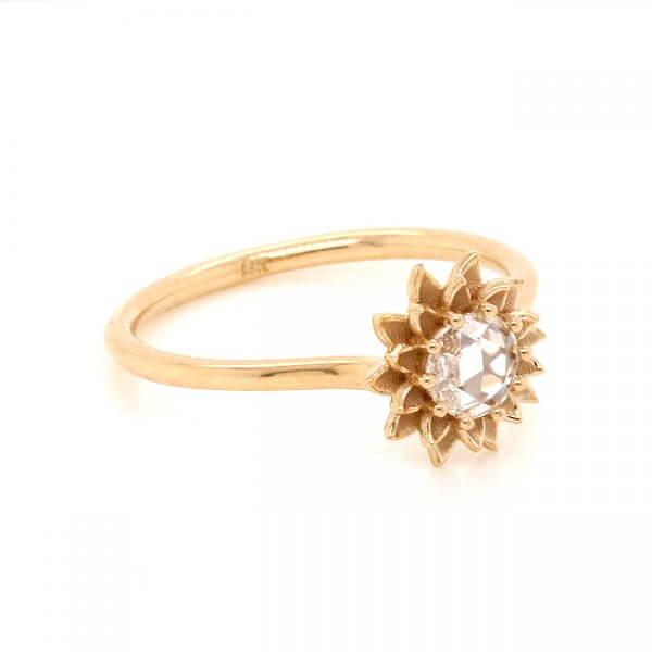 Rose Cut Diamond Flower Nature Engagement Ring