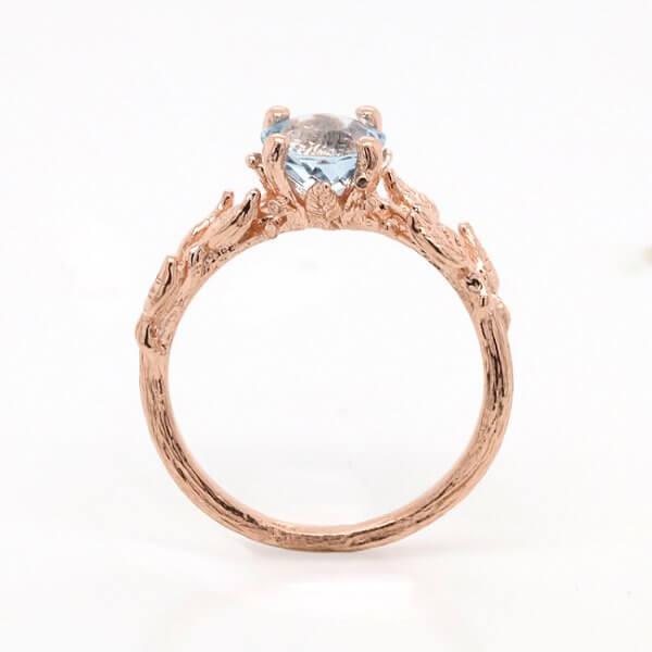 Rose Gold Leaf Engagement Ring OroSpot