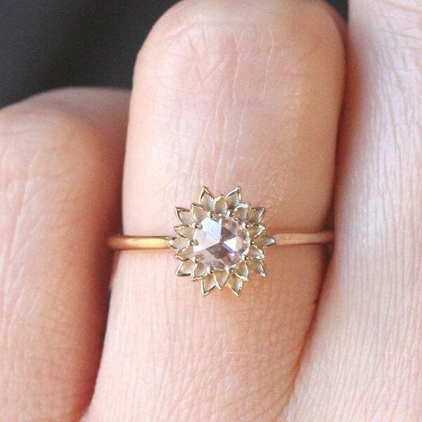 Rose cut diamond engagement ring OroSpot