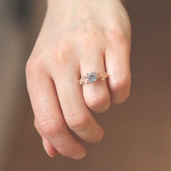 Round Aquamarine Engagement Ring in 14k Pink gold