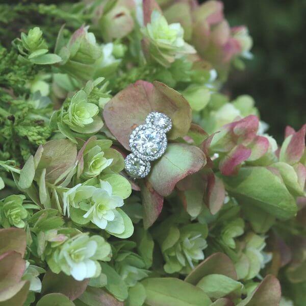 Round Tree halo Diamond and Moissanites Ring