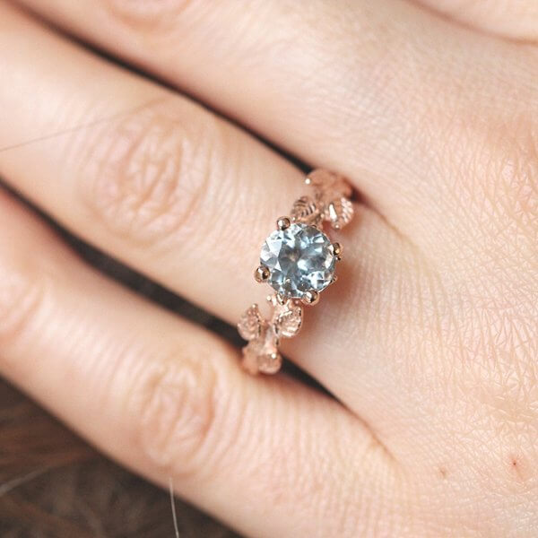 Solitaire Aquamarine Engagement Ring by OroSpot, Custom Engagement Ring Designers in New York City
