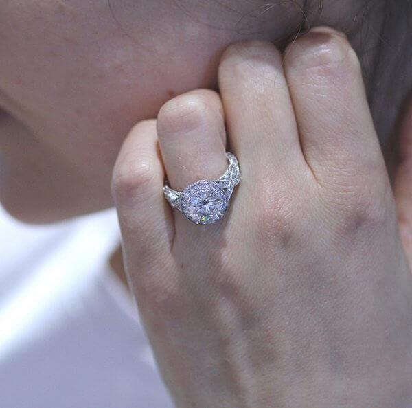 Split Shank Double Halo Diamond Ring with Moissanite