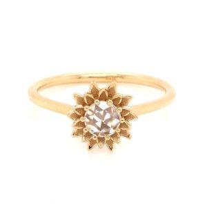 Sunflower Rose Cut Diamond Engagement Ring