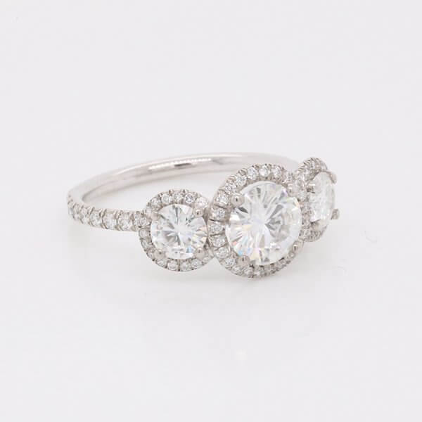 three halo moissanite engagement ring