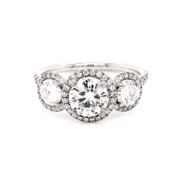 Triple Halo Diamond Forever One Moissanite Engagement Ring