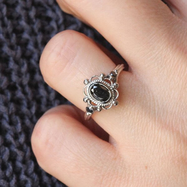 Unique Filigree Black Diamond ring OroSpot