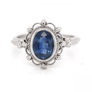 Victorian oval sapphire engagement ring Custom Engagement Rings by OroSpot, NY