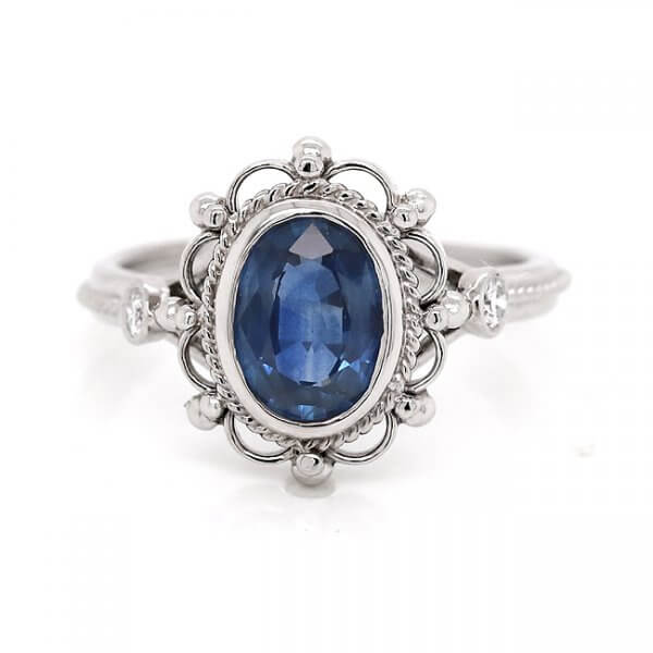 Victorian oval sapphire engagement ring OroSpot