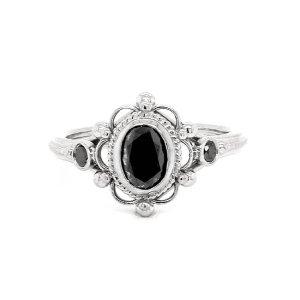 Victorian black diamond engagement rint