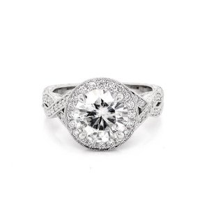 Vintage Hand Engraved 2Ct Moissanite Engagement Ring