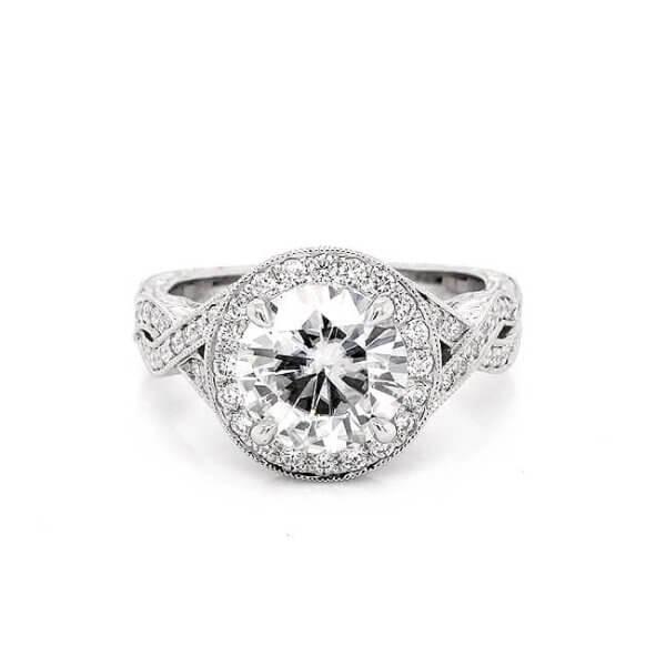Vintage Hand Engraved 2Ct Moissanite Engagement Ring