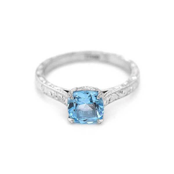 Vintage Hand Engraved Cushion Blue Topaz Engagement Ring