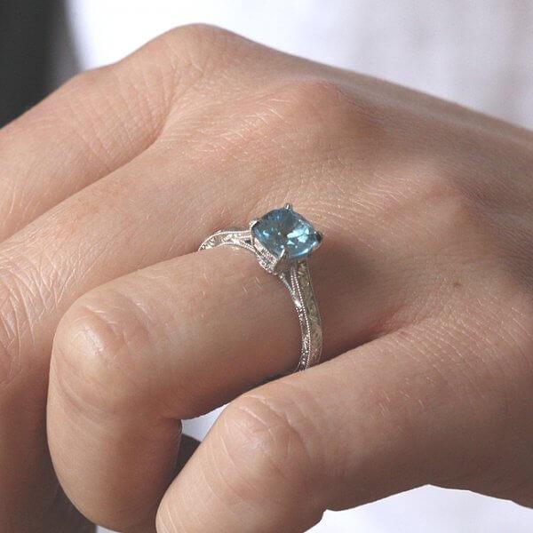 Vintage style topaz gemstone engagement ring
