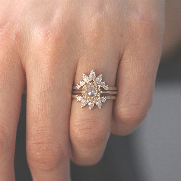 rose cut engagement ring set with two moissanite ring enhancers