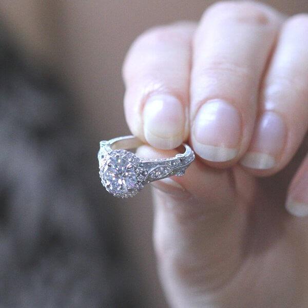 round halo vintage ring OroSpot