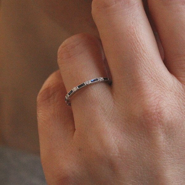 1.5mm blue sapphires and diamond wedding band